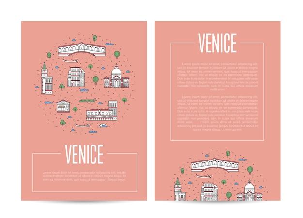 Венеция город путешествия реклама в линейном стиле