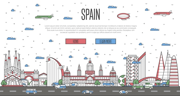 Барселона горизонта с национальными известными достопримечательностями веб-шаблон