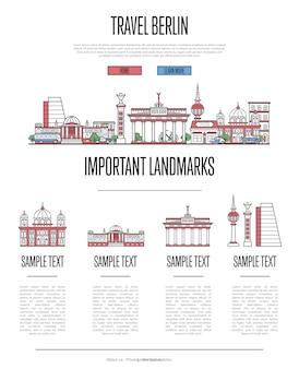 直線的なスタイルのベルリン旅行インフォグラフィック