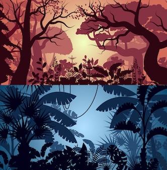 深い熱帯のジャングルとグリーンウッドの背景セット