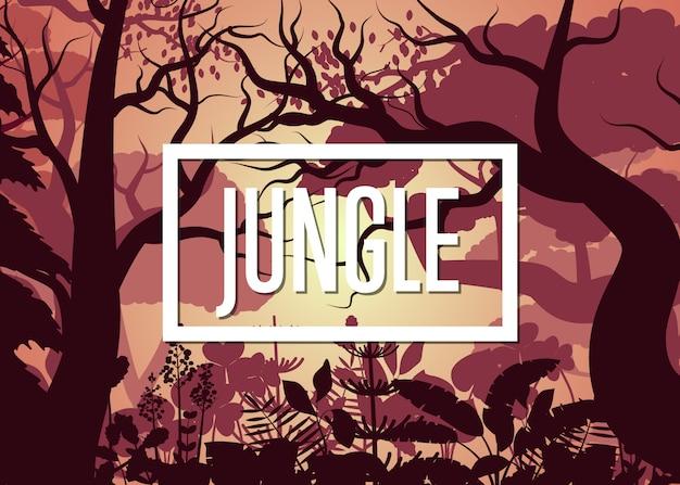 Утренние тропические джунгли с деревьями и кустарником
