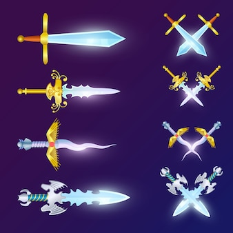 Набор скрещенных эпических мечей