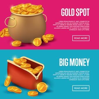 Золотое пятно и банер с большими деньгами