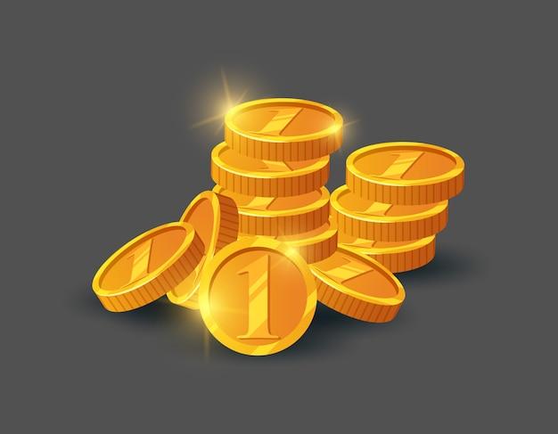 光沢のある黄金のコインの山