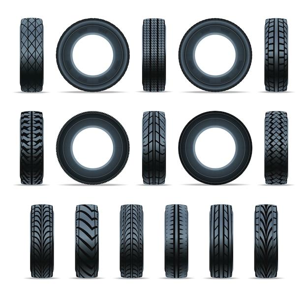 現実的な車のタイヤのアイコンのコレクション