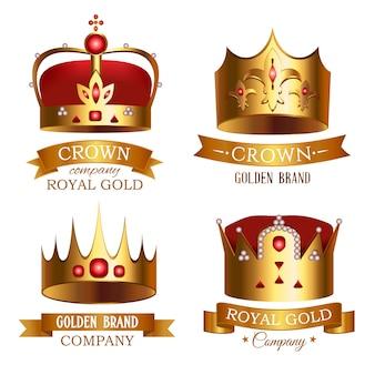 Золотая корона королевства с набором изолированных ленты