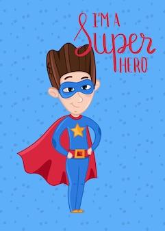 スーパーヒーローの子供のはがきテンプレート