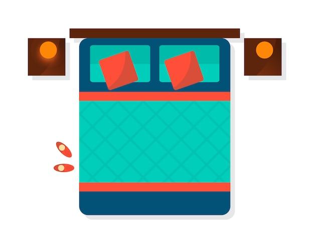 トップビューの寝室のインテリア要素