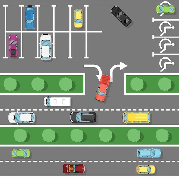 フラットスタイルの交通法則ポスター