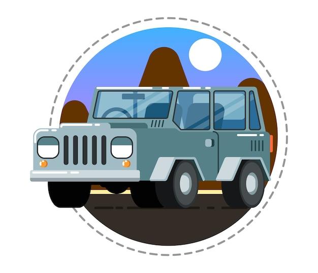 灰色のオフロードトラックアイコン