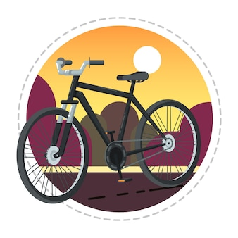 フラットなデザインのビンテージ自転車アイコン