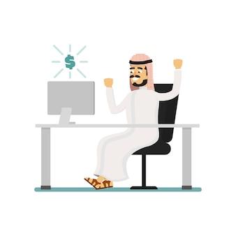 Мусульманский бизнесмен работает на компьютере