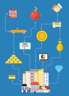 Инвестиции в концепцию недвижимости в плоском дизайне