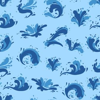 水の飛散と青い海の背景