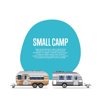 Маленький лагерь с туристическими трейлерами