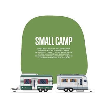 旅行トレーラー付きの小さなキャンプのチラシ