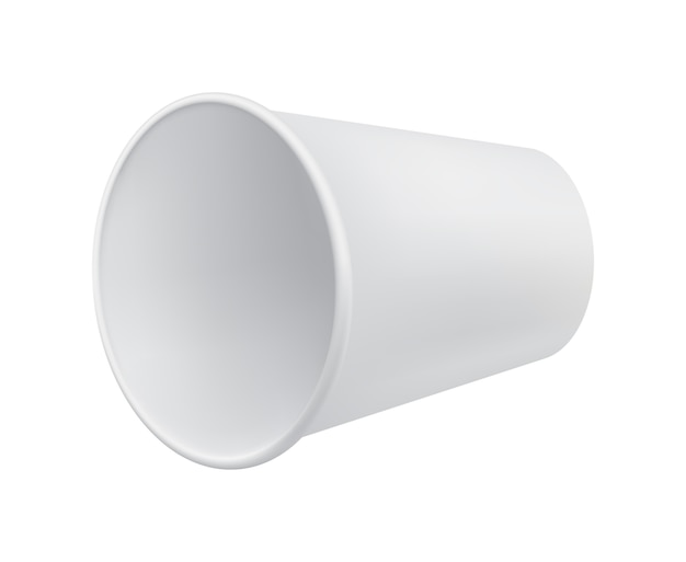 空白の紙コップのクローズアップ