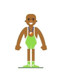 スポーツの制服を着た若いアフリカ重量挙げ