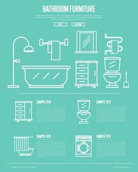 Мебель для ванной в линейном стиле