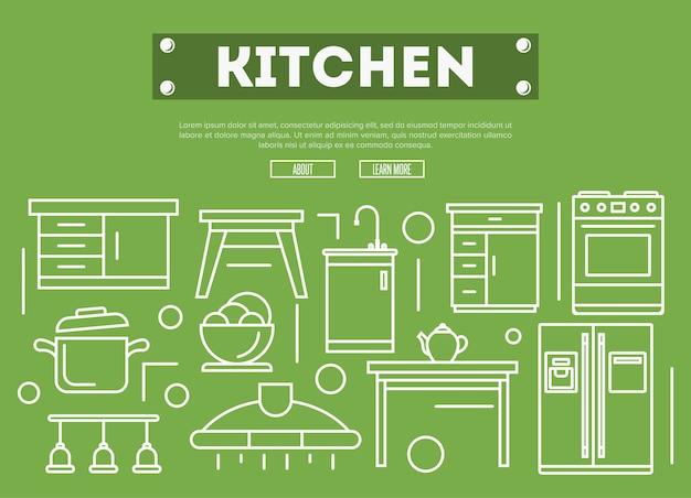 Кухонная мебель в линейном стиле