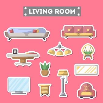 Набор иконок мебели для гостиной в плоском стиле