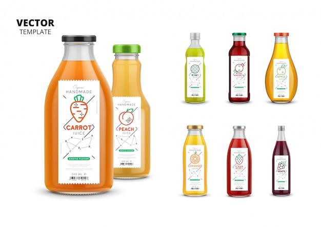 Набор макетов для упаковки свежих соков