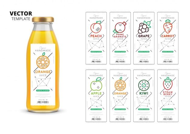 フレッシュジュースのラベルが付いた現実的なガラス瓶包装