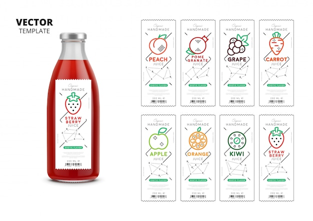 Свежий сок, реалистичная стеклянная бутылка, упаковка с этикетками