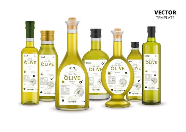 Набор стеклянных бутылок из оливкового масла