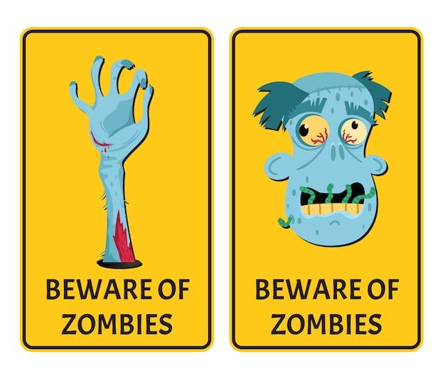 Остерегайтесь зомби этикетки с частями тела монстра