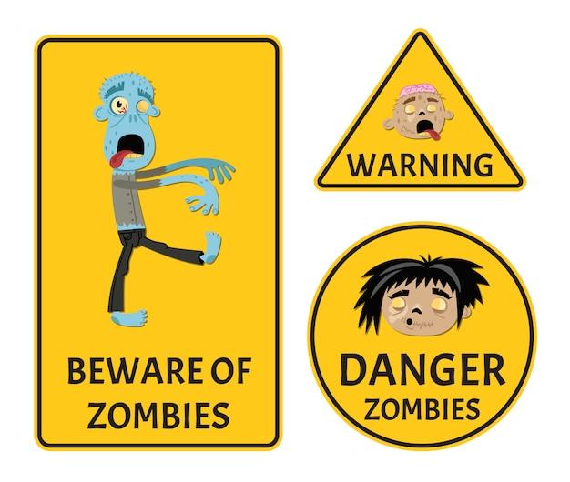Остерегайтесь зомби, набор предупреждающих наклеек