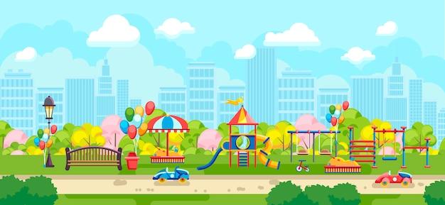 Красочная панорама парковой площадки