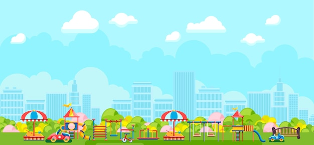 Панорамный вид на городскую площадку в парке