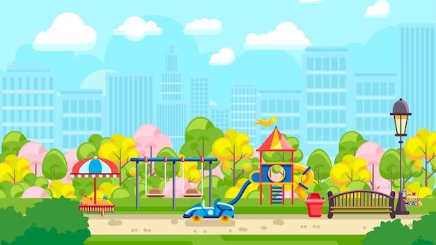 Яркой детской площадки в городе
