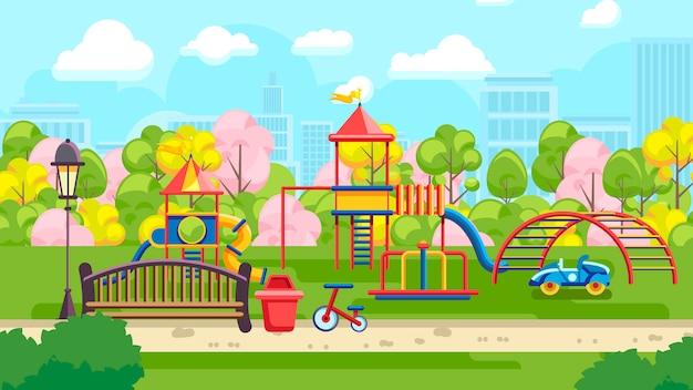 Яркая игровая площадка в парке