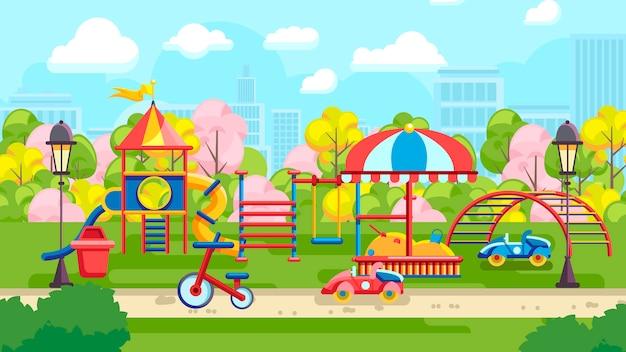 Яркий дизайн городской детской площадки