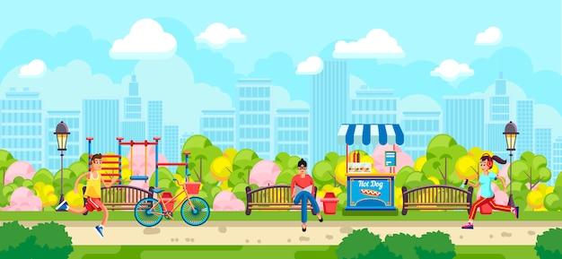 Красочный дизайн людей, бегущих в парке