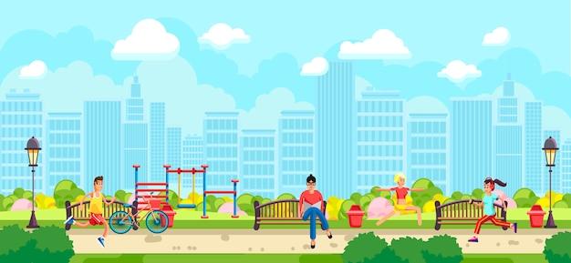公園でスポーツをしている人々のフラットスタイル