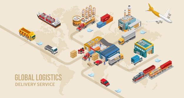 世界地図上の宅配サービスの構造