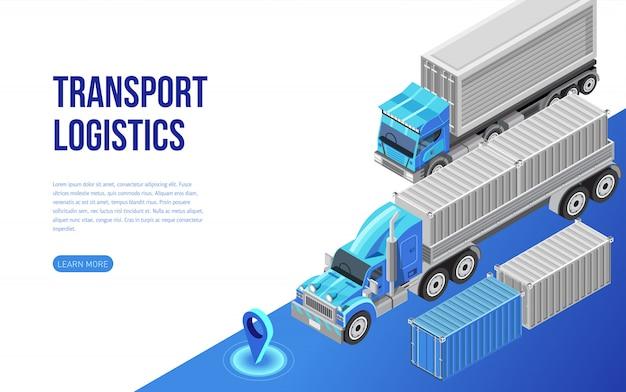 ウェブサイトの説明に近いトラックと貨物コンテナ