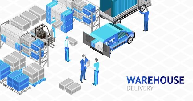 Изометрический дизайн складской доставки