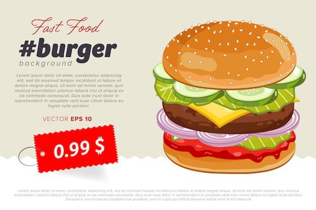 Чизбургер продажа баннер шаблон.