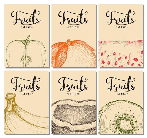 Набор рисованной натуральных фруктов