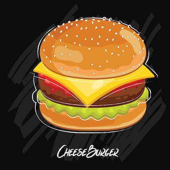 黒に分離されたハンバーガー