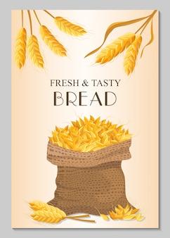Свежий и вкусный хлебный баннер с мешком пшеницы