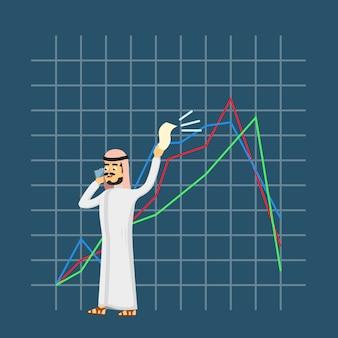 Арабский бизнесмен говорит по телефону