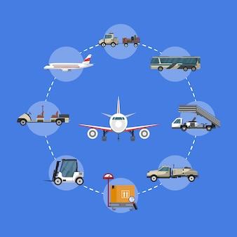 Иллюстрация аэропорта с наземной техникой