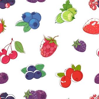 白い背景のシームレスなパターンに熟した果実
