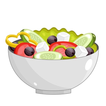 Греческий салат со свежими овощами