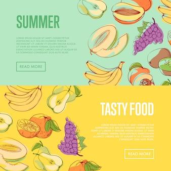 自然な夏の果物バナーセット